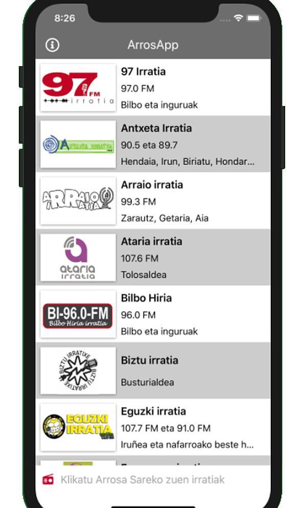 Alfabetikoki daude zerrendatuak Arrosaren irratiak, aplikazioan. ©BERRIA