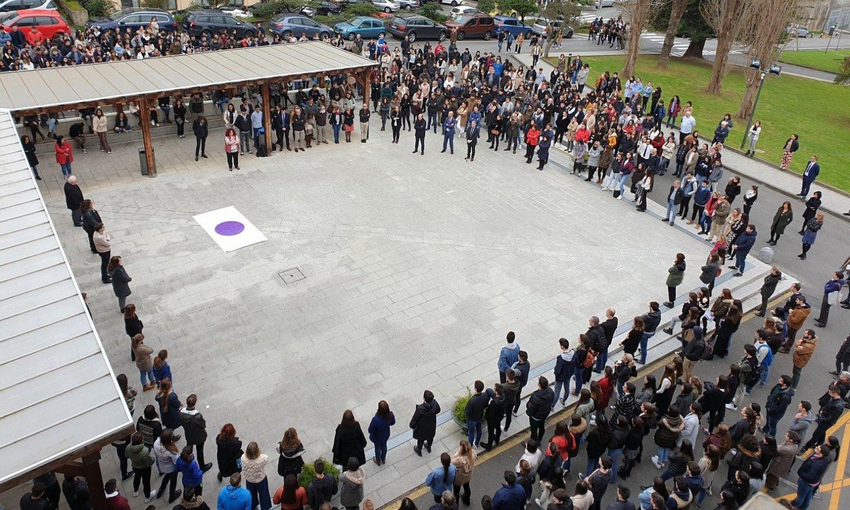 Deustuko Unibertsitatean egindako protesta, atzo. ©DEUSTUKO UNIBERTSITATEA