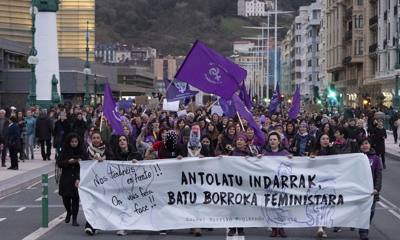 Mugimendu feministak antolatutako ekintza, Martxoaren 8an. / JON URBE / FOKU