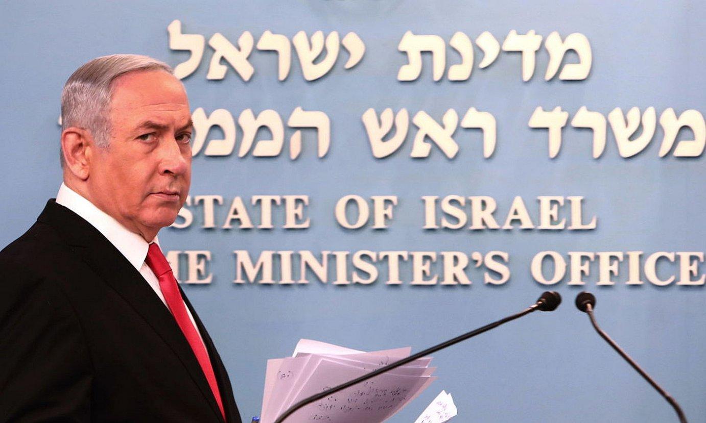 Benjamin Netanyahu Israelgo jarduneko lehen ministroa koronabirusari aurre egiteko hartutako neurriak iragartzen. ©GALI TIBBON / EFE