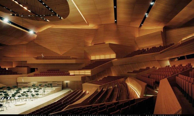 BAI Center eraikin multzoko auditoriuma berreskuratu nahi du Urtaranek, kokapen berrira egokituta. Irudian, orduan egindako muntaketa. ©BERRIA