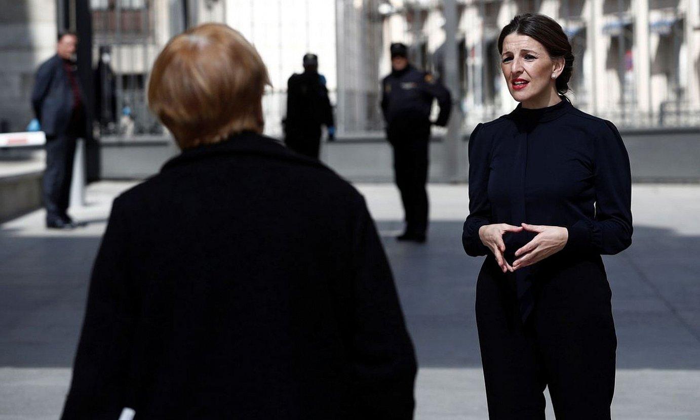 Yolanda Diaz Espainiako Lan ministroa, atzo, Madrilen. ©MARISCAL / EFE
