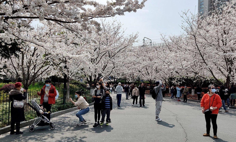Herritarrak Shanghaiko parke batean. Txinan, aisialdi gune gehienak itxita daude oraindik ere. / ZIGOR ALDAMA