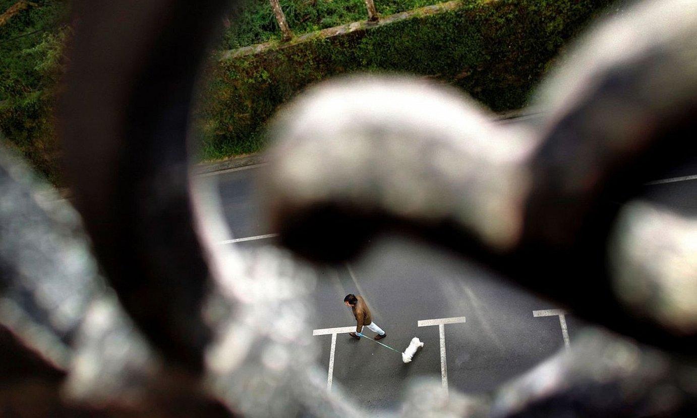 Balkoitik bizilagunari begira. Txakurra paseatzera atera du auzokideak. ©CABALAR / EFE