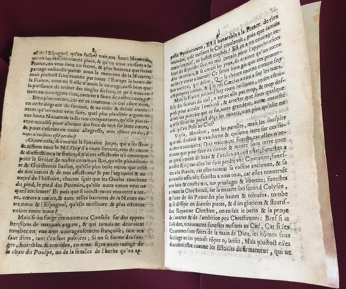Peir Lostau Nafarroako Parlamentuko presidenteak 1617an Jacques de la Force Frantziako erregeordeari idatzi zion gutuna, Nafarroaren subiranotasunaren defentsan. ©MINTZOA ARGITALETXEA