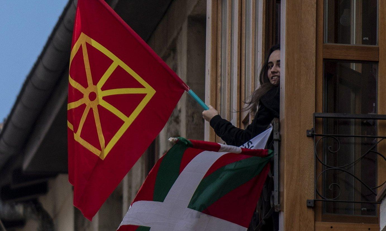 Emakume bat Nafarroako bandera astintzen. ©JAIZKI FONTANEDA / FOKU