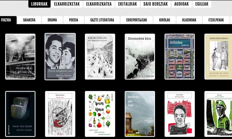 <em>Booktegi.eus</em> plataforma digitalaren pantaila irudi bat, liburuei dagokien ataletik hartua. ©BOOKTEGI