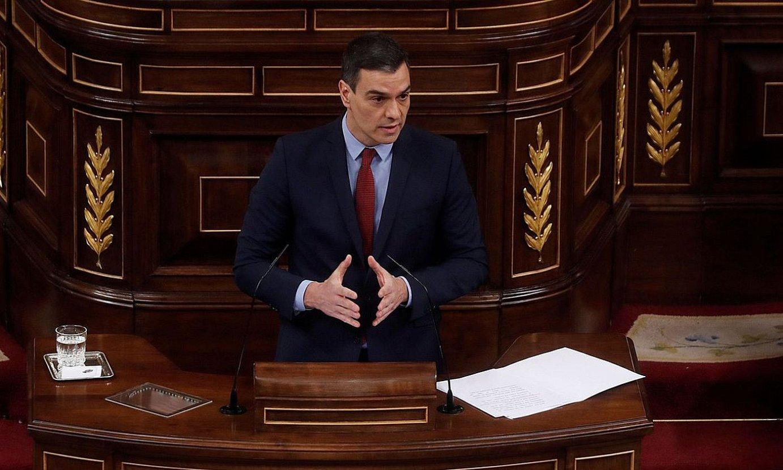 Pedro Sanchez Espainiako Gobernuko presidentea, atzo, larrialdi egoera luzatzeari buruzko azalpenak ematen, Kongresuan. ©J.J. GUILLEN / EFE