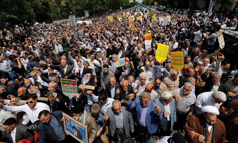 AEBen aurkako protesta bat Teheranen, herrialdeari jarritako zigor ekonomikoak salatzeko. ©STR / EFE