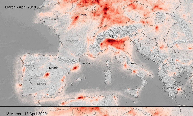 Europako Aire Espazioaren mapa bat, erakutsiz NO2 kutsadura pandemia aurretik eta ondoren. / ESA HANDOUT / EFE