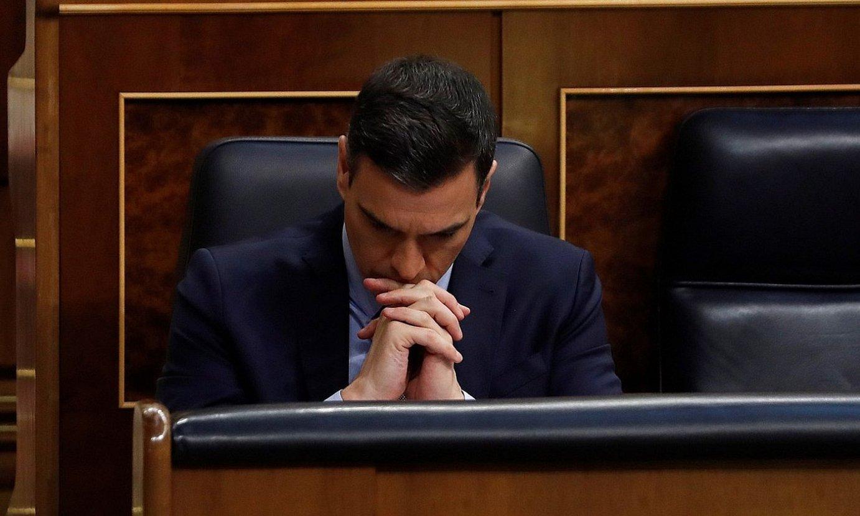 Pedro Sanchez Espainiako Gobernuko presidentea, atzo, Kongresuan. / J.J. GUILLEN / EFE