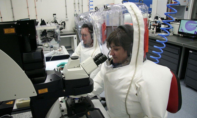 Zientzialariak lanean, biosegurtasun maila altuko laborategi batean, Australiako Geelong hirian. / EFE