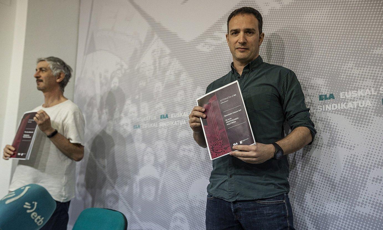 Mikel Noval eta Mitxel Lakuntza, proposamen politikoa aurkezten. ©ARITZ LOIOLA / FOKU