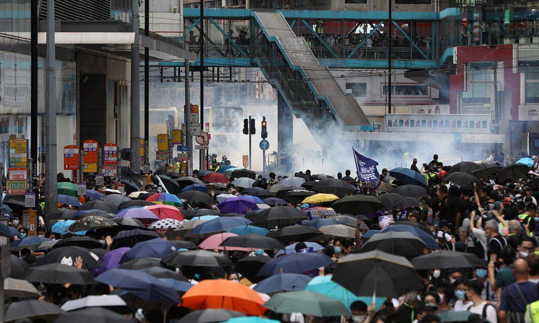 Hong Kongen herenegun atera ziren kalera Txinako Gobernuak onarrarazi nahi duen segurtasunari buruzko lege proiektuaren aurka. ©JEROME FAVRE / EFE