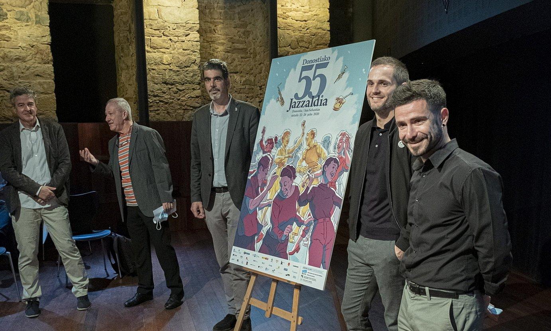 Joseba Larretxe <em>Josevisky</em>k egin du Donostiako 55. Jazzaldiaren kartela. ©JON URBE / FOKU
