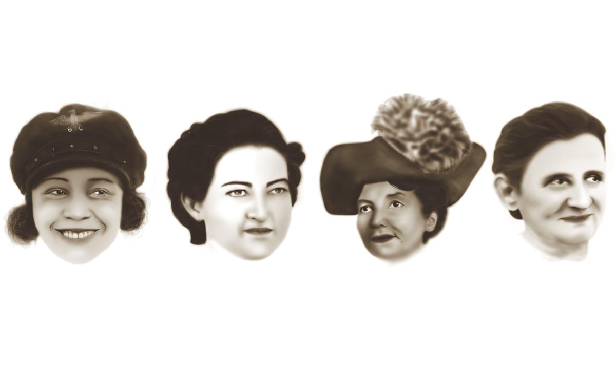 Bessie Coleman, Margot Duhalde Sotomayor, Marie Marvingt eta Mercedes Diaz Morales; Iosune Avilak ilustraturik. ©EREIN