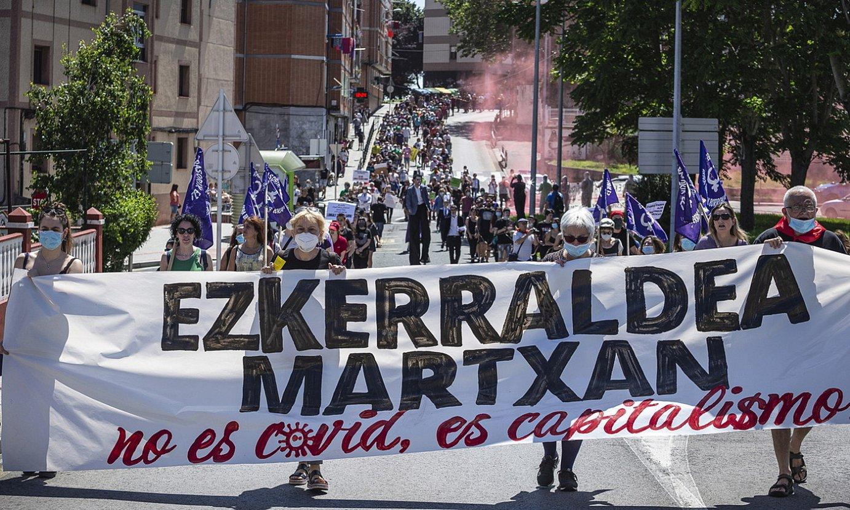 Ezkerraldea Martxan-en protesta, atzo, Sestaon. ©ARITZ LOIOLA / FOKU