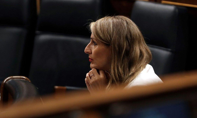 Yolanda Diaz Espainiako Lan ministroa, atzo, Kongresuan. ©J.J.GUILLEN / EFE