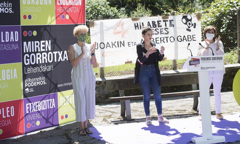 Elkarrekin Podemoseko kideak, atzo, Zaldibarren (Bizkaia). ©J.C.RUIZ/ FOKU