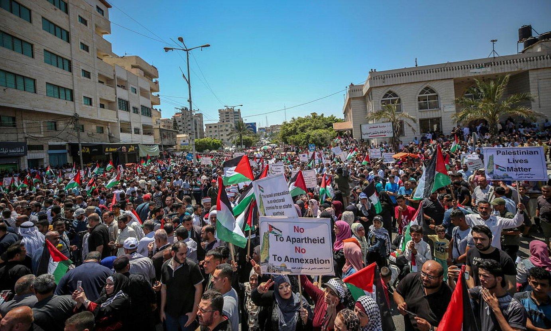 Israelen anexio planaren kontrako protesta, atzo, Gazan. ©MOHAMMED SABER / EFE