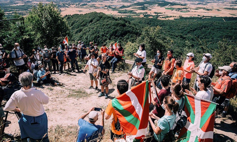 Iñigo Urkullu, igandean, Zaldiaran mendian egin zuen ekitaldian. ©J.R.B. / EFE