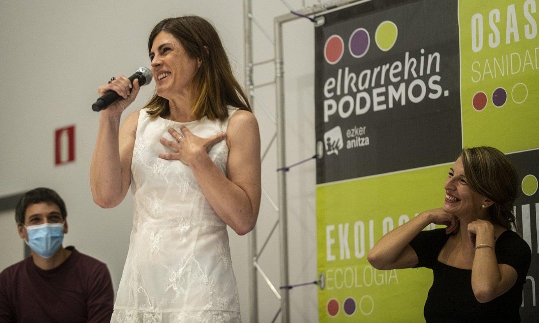 Miren Gorrotxategi eta Yolanda Diaz, atzo, Gasteizen. ©JAIZKI FONTANEDA / FOKU