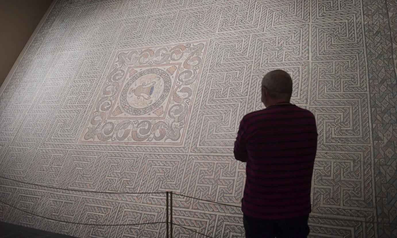 Bisitari bat Nafarroako Museoan, Ramaleteko bosgarren aretoko mosaikoari begira. ©IDOIA ZABALETA / FOKU