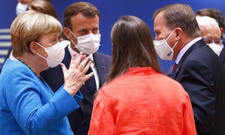 Alemania, Frantzia, Finlandia eta Suediako lehen ministroak, atzo, Bruselan. ©FRANCOIS LENOIR / EFE