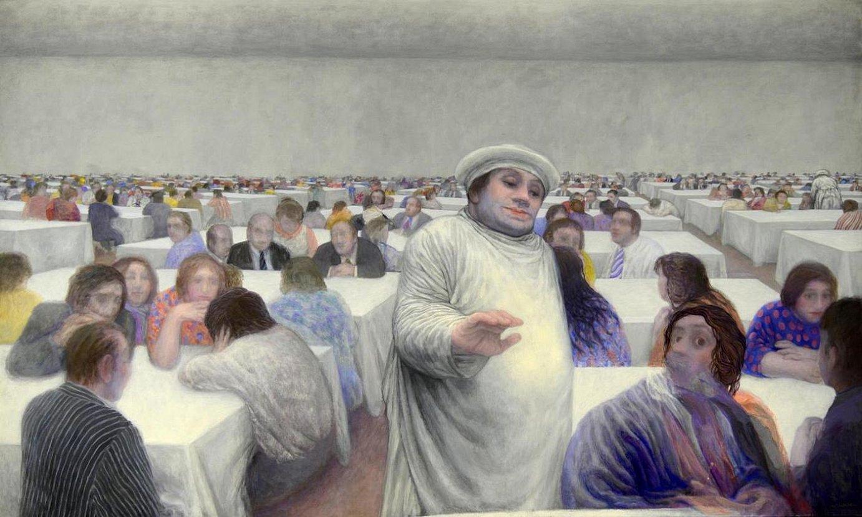 Sukaldariz jantzita dirudien pertsonaren keinuak gobernatzen du Mari Puri Herrero artistaren <em>Jangela</em> margolanaren erdialdea. ©TXELU ANGOITIA