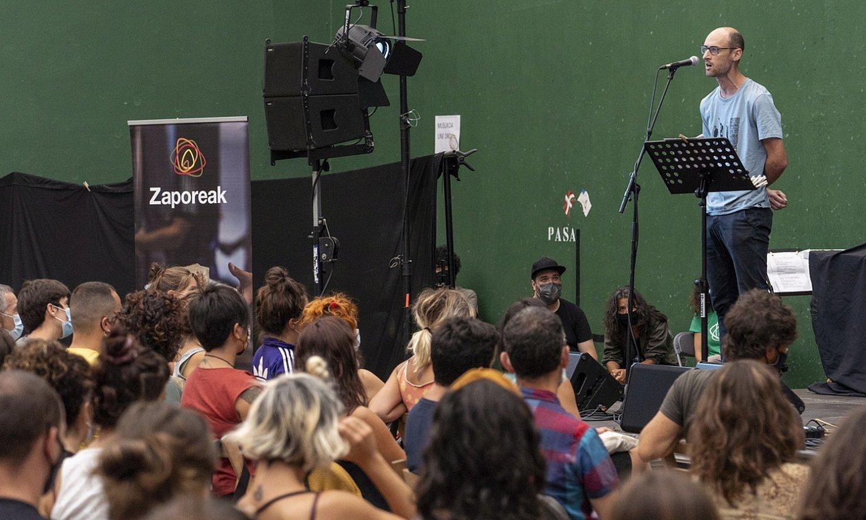 Amets Arzallus, Donostiako Antigua auzoko frontoian, atzo. ©GORKA RUBIO / FOKU