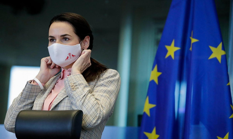 Svetlana Tikhanovskaia, atzo, Europako Parlamentuan. ©STEPHANIE LECOCQ / EFE