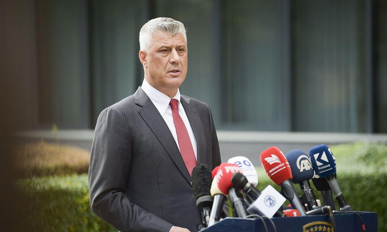 Hashim Thaci Kosovoko presidentea, atzo emandako prentsaurrekoan. ©EFE