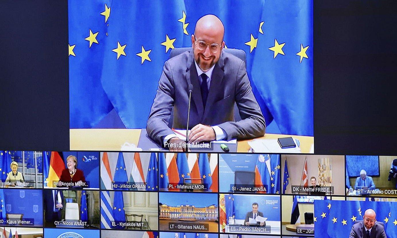 Charles Michel, Europar Kontseiluaren atzoko bilkuran. ©OLIVIER MATTHYS / EFE