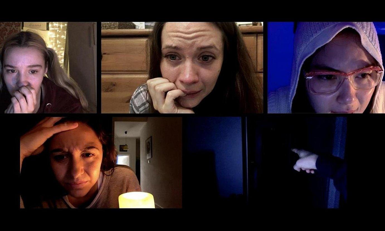 <em>Host</em> filmean ageri diren sei pertsonaia nagusiak, Zoom plataforma baliatuta eginiko bideokonferentzia batean. ©HOST