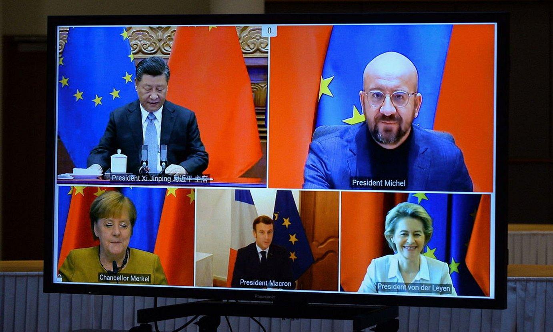 Xi Txinako presidentearen eta EBko buruen telekonferentzia, atzo. ©J. GERON / EFE