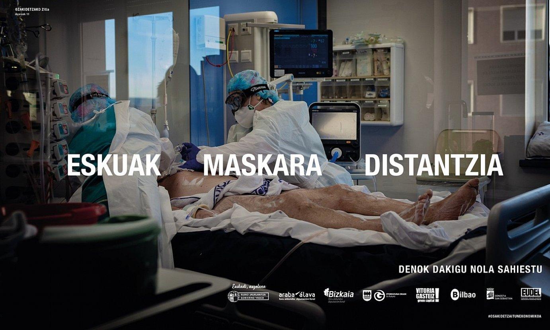 Eusko Jaurlaritzaren <em>Eskuak. Maskara. Distantzia</em> kanpaina, ZIU bateko irudiarekin. ©IREKIA