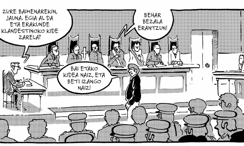 Burgosko Prozesuan epaitutako herritarretako bat deklaratzen ageri da <em>Burgosko auzia. Iraultza eta bizi!</em> komikiaren biñetetako batean. ©ADUR LARREA