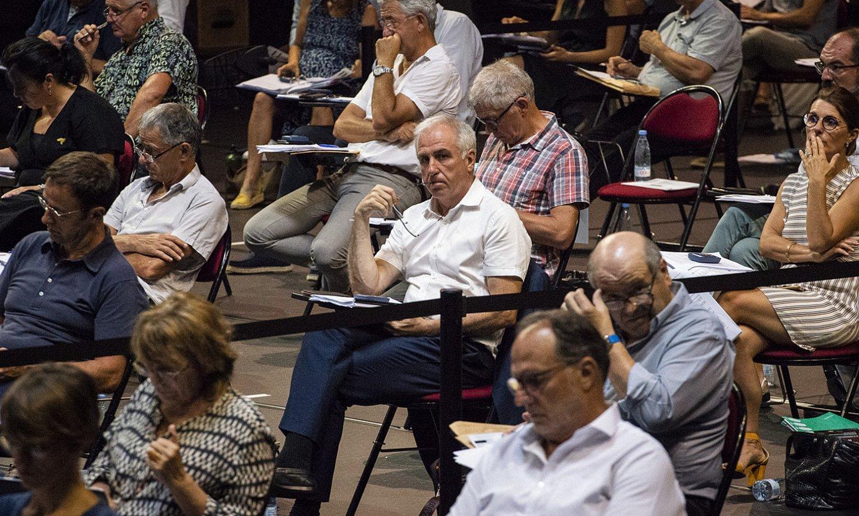 Alain Iriart Hiriburuko auzapeza, iazko uztailean, Baionan, Euskal Hirigune Elkargoko batzarrean. ©GUILLAUME FAUVEAU