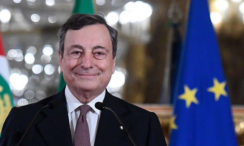 Mario Draghi Italiako lehen ministro hautatua, atzo, errepublikako presidentearekin bildu ostean. ©A. DI MEO / EFE