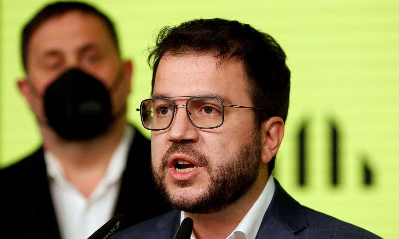Pere Aragones, joan den astelehenean, Bartzelonan egindako agerraldi batean. ©ALBERTO ESTEVEZ / EFE
