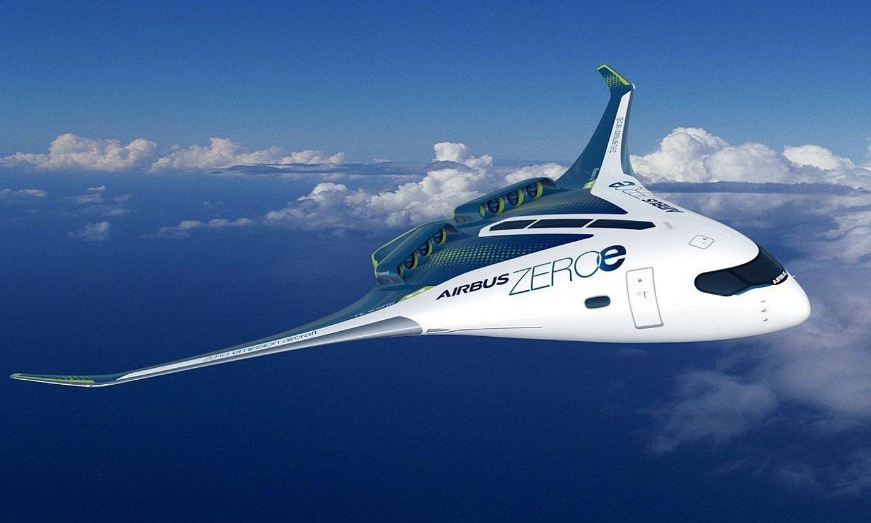 <b>Hegazkinak. </b>Airbusek hidrogenoa darabilten hiru ptototipo aurkeztu ditu. ©AIRBUS