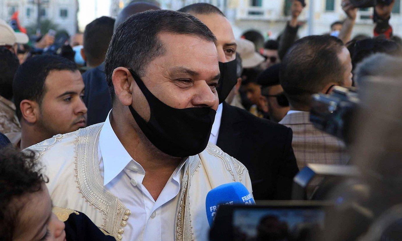 Dbeibah behin-behineko lehen ministroa, 2011ko protesten hamargarren urteurrena gogoratzeko ekitaldi batean, otsailean. ©STR / EFE