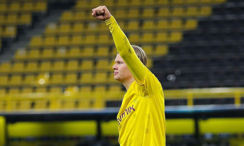 Erling Haaland gol bat ospatzen, multzoen fasean. ©LARS BARON/POOL / EFE