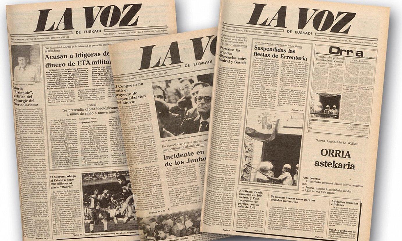 <em>Orria</em> euskarazko astekaria 1983ko uztailaren 23an argitaratu zuen lehen aldiz <em>La voz de Euskadi</em>-k. ©BERRIA