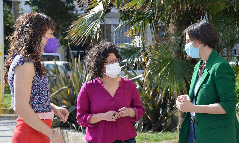 Elkarrekin Podemos-IUko ordezkariak, atzoko agerraldian. ©ELKARREKIN PODEMOS-IU