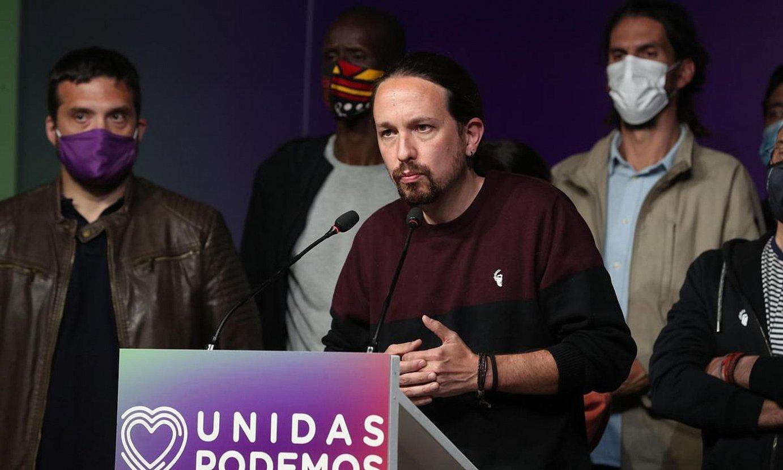 Pablo Iglesias, politikari agur esan zion agerraldian, herenegun, Madilen. ©KIKO HUESCA / EFE
