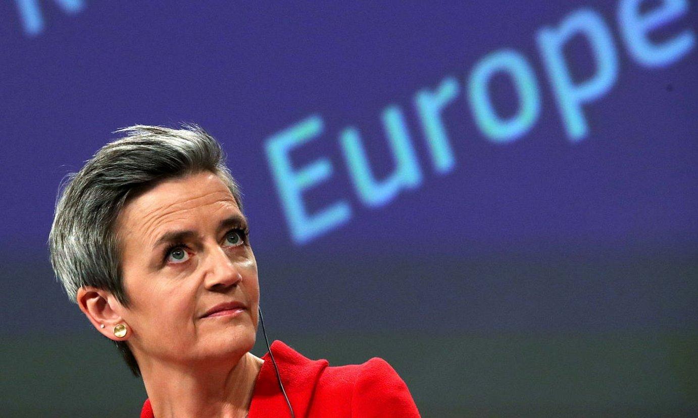 Margrethe Vestager Europako Batzordeko Lehia komisarioa, atzo Bruselan eginiko agerraldian. ©YVES HERMAN / EFE