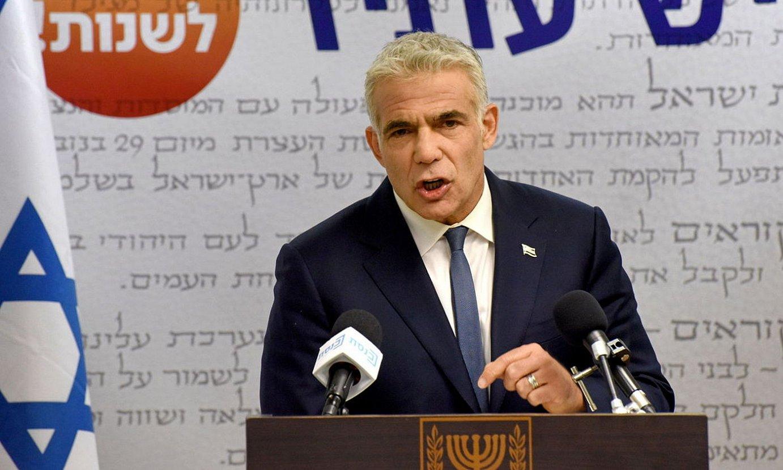 Yesh Atid alderdiko buru Yair Lapid, atzo eginiko agerraldian. ©DEBBIE HILL / EFE