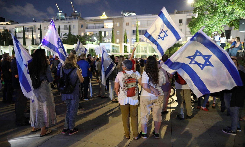 Gobernu akordio berria babesteko mobilizazioa, Tel Aviven. ©ABIR SULTAN / EFE