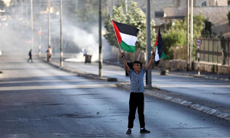 Manifestari palestinar bat, herenegun, Betleemen. ©ABED AL HASHLAMOUN / EFE